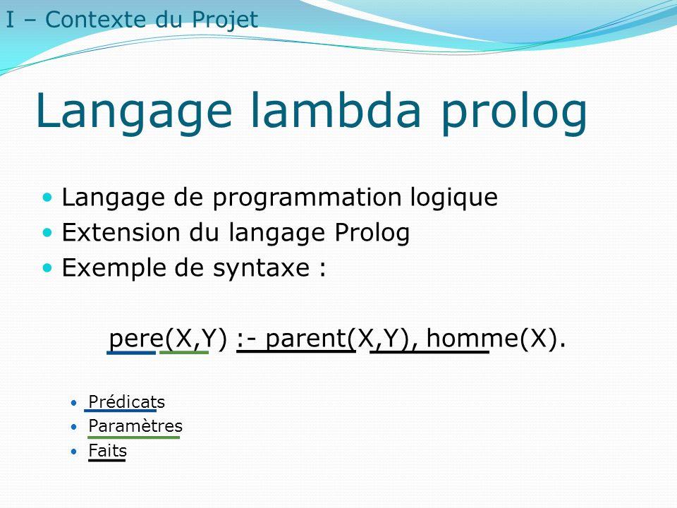 Langage lambda prolog Langage de programmation logique Extension du langage Prolog Exemple de syntaxe : pere(X,Y) :- parent(X,Y), homme(X). Prédicats