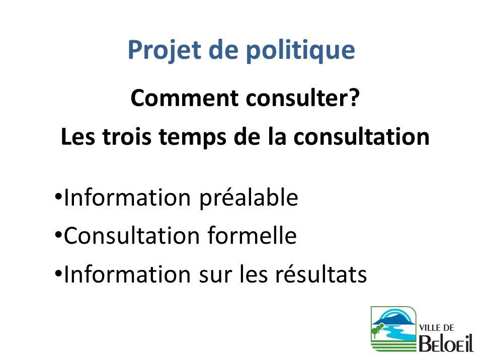 Projet de politique Comment consulter? Les trois temps de la consultation Information préalable Consultation formelle Information sur les résultats