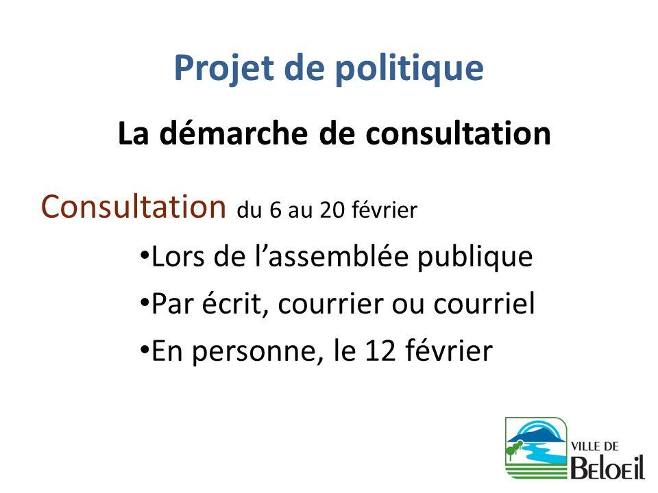 Projet de politique La démarche de consultation Consultation du 6 au 20 février Lors de lassemblée publique Par écrit, courrier ou courriel En personn