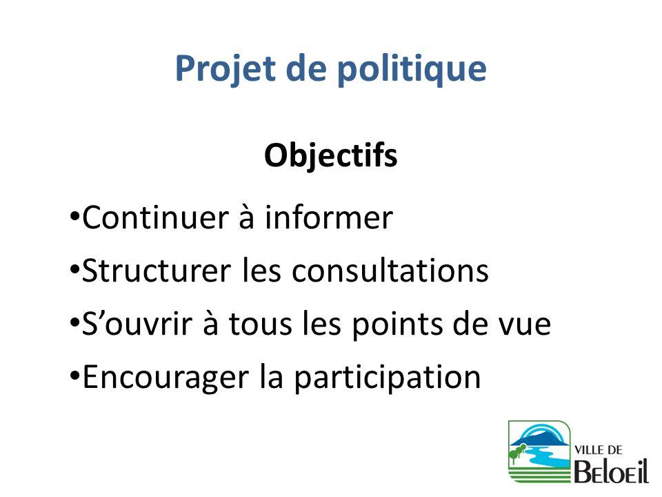 Projet de politique Objectifs Continuer à informer Structurer les consultations Souvrir à tous les points de vue Encourager la participation