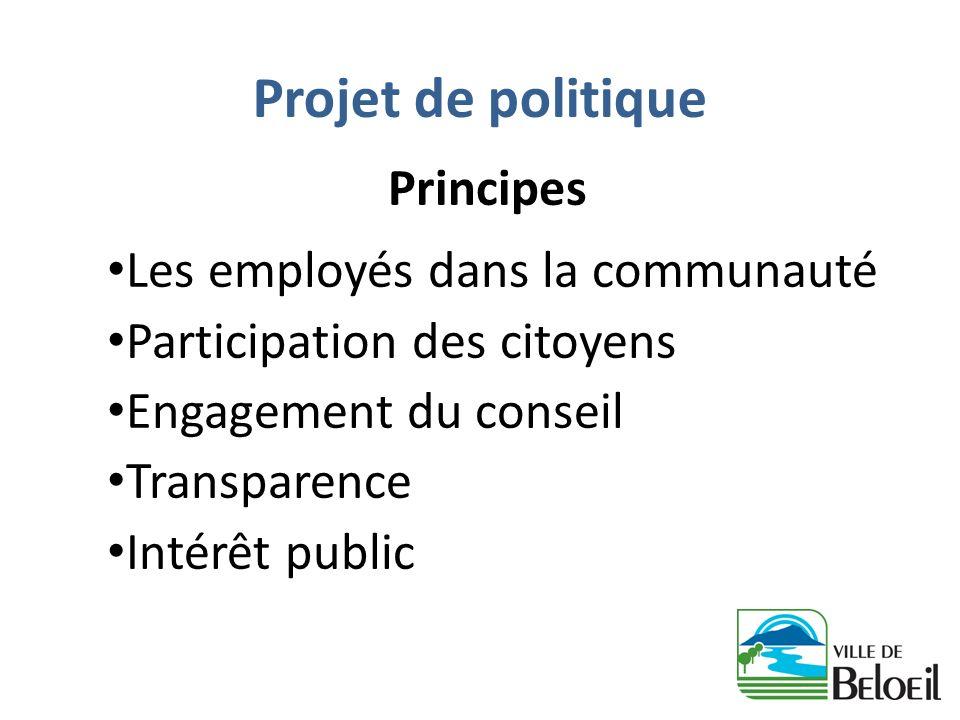 Projet de politique Principes Les employés dans la communauté Participation des citoyens Engagement du conseil Transparence Intérêt public