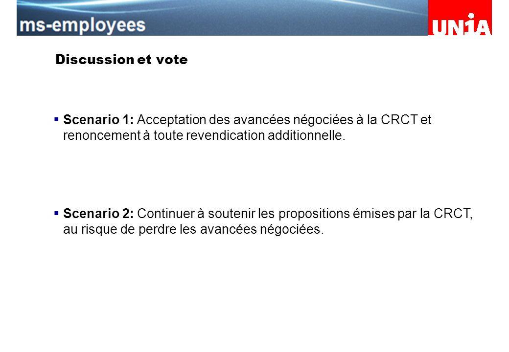 Assemblée du personnel de Merck Serono Discussion et vote Scenario 1: Acceptation des avancées négociées à la CRCT et renoncement à toute revendication additionnelle.