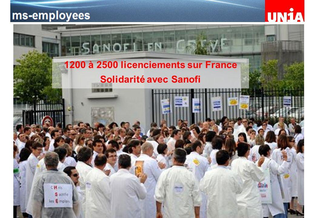 Assemblée du personnel de Merck Serono 1200 à 2500 licenciements sur France Solidarité avec Sanofi