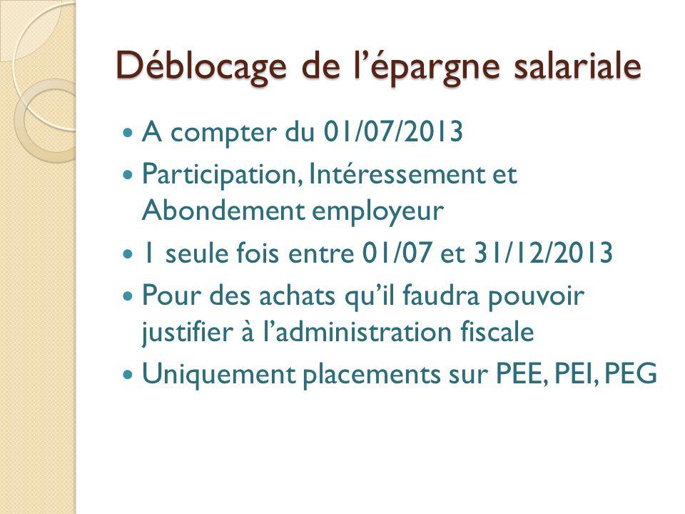 Déblocage de lépargne salariale A compter du 01/07/2013 Participation, Intéressement et Abondement employeur 1 seule fois entre 01/07 et 31/12/2013 Pour des achats quil faudra pouvoir justifier à ladministration fiscale Uniquement placements sur PEE, PEI, PEG