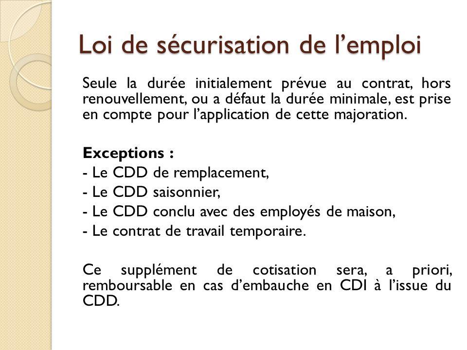 Loi de sécurisation de lemploi Seule la durée initialement prévue au contrat, hors renouvellement, ou a défaut la durée minimale, est prise en compte pour lapplication de cette majoration.