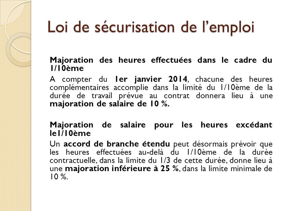Loi de sécurisation de lemploi Majoration des heures effectuées dans le cadre du 1/10ème A compter du 1er janvier 2014, chacune des heures complémentaires accomplie dans la limité du 1/10ème de la durée de travail prévue au contrat donnera lieu à une majoration de salaire de 10 %.