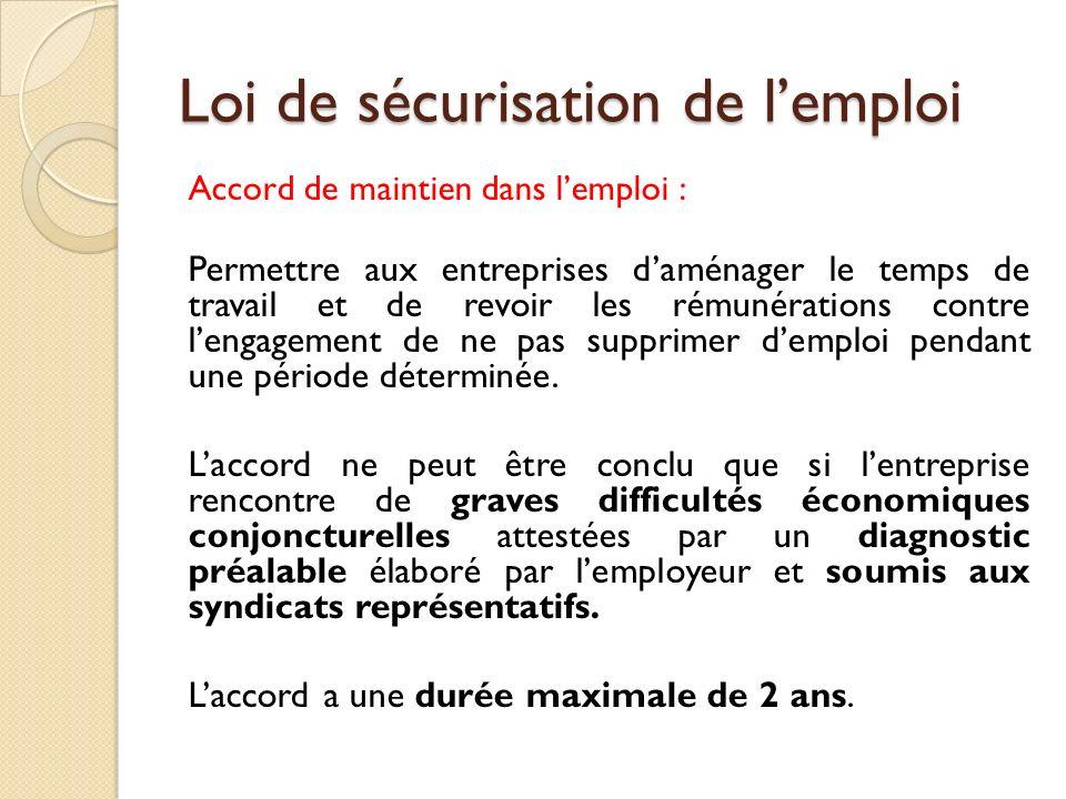 Loi de sécurisation de lemploi Accord de maintien dans lemploi : Permettre aux entreprises daménager le temps de travail et de revoir les rémunération
