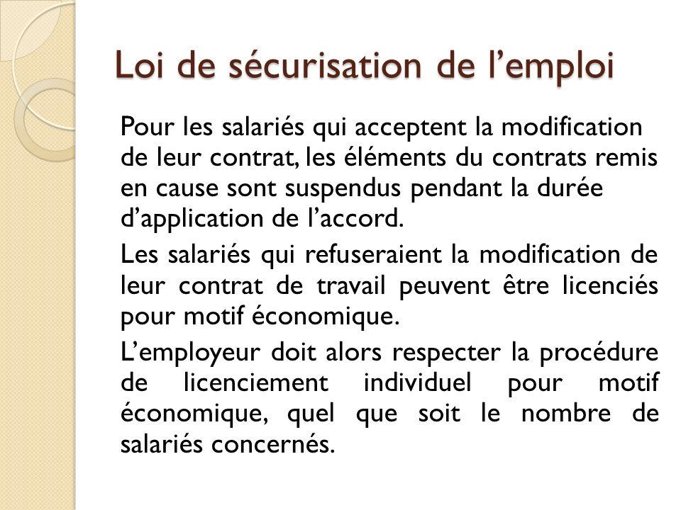 Loi de sécurisation de lemploi Pour les salariés qui acceptent la modification de leur contrat, les éléments du contrats remis en cause sont suspendus pendant la durée dapplication de laccord.