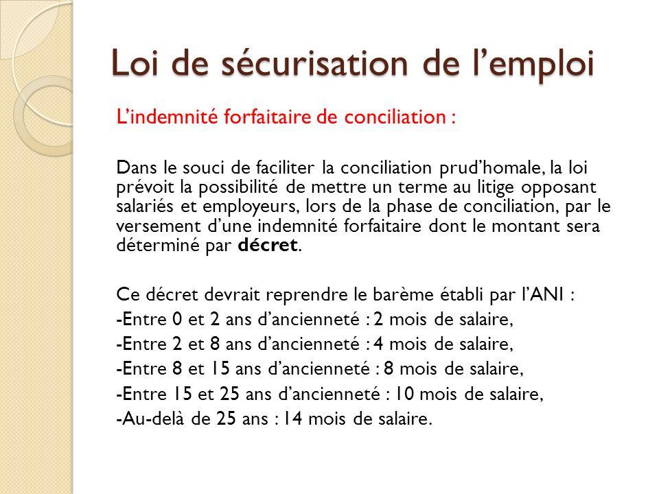 Loi de sécurisation de lemploi Lindemnité forfaitaire de conciliation : Dans le souci de faciliter la conciliation prudhomale, la loi prévoit la possi