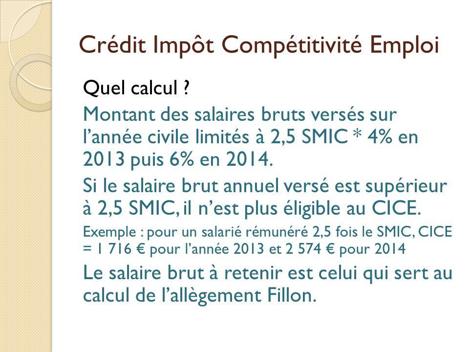 Crédit Impôt Compétitivité Emploi Quel calcul ? Montant des salaires bruts versés sur lannée civile limités à 2,5 SMIC * 4% en 2013 puis 6% en 2014. S