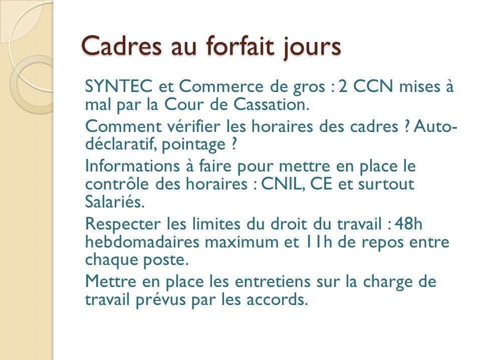 Cadres au forfait jours SYNTEC et Commerce de gros : 2 CCN mises à mal par la Cour de Cassation.