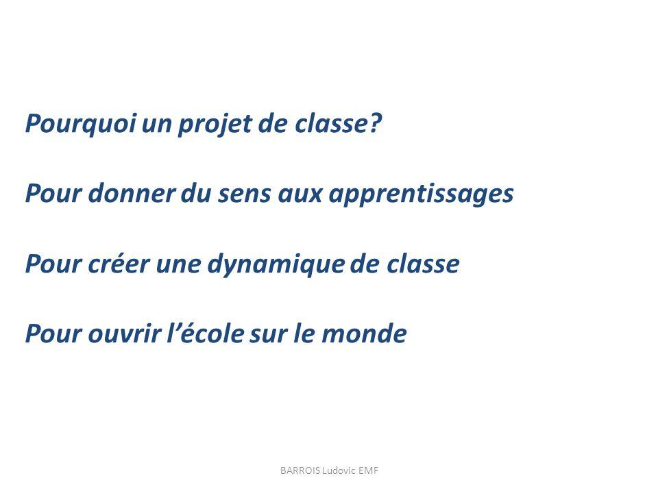 Pourquoi un projet de classe? Pour donner du sens aux apprentissages Pour créer une dynamique de classe Pour ouvrir lécole sur le monde BARROIS Ludovi