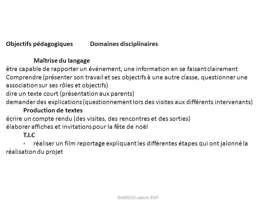 Objectifs pédagogiques Domaines disciplinaires Maîtrise du langage être capable de rapporter un événement, une information en se faisant clairement Co