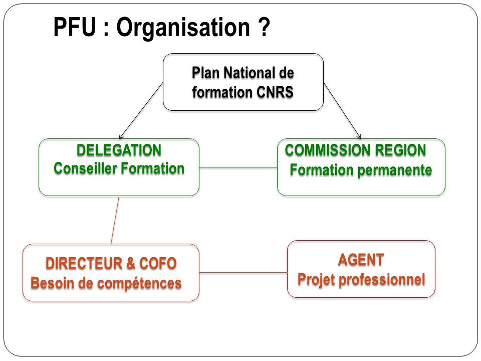 PFU : Organisation ? DIRECTEUR & COFO Besoin de compétences DIRECTEUR & COFO Besoin de compétences AGENT Projet professionnel AGENT Projet professionn