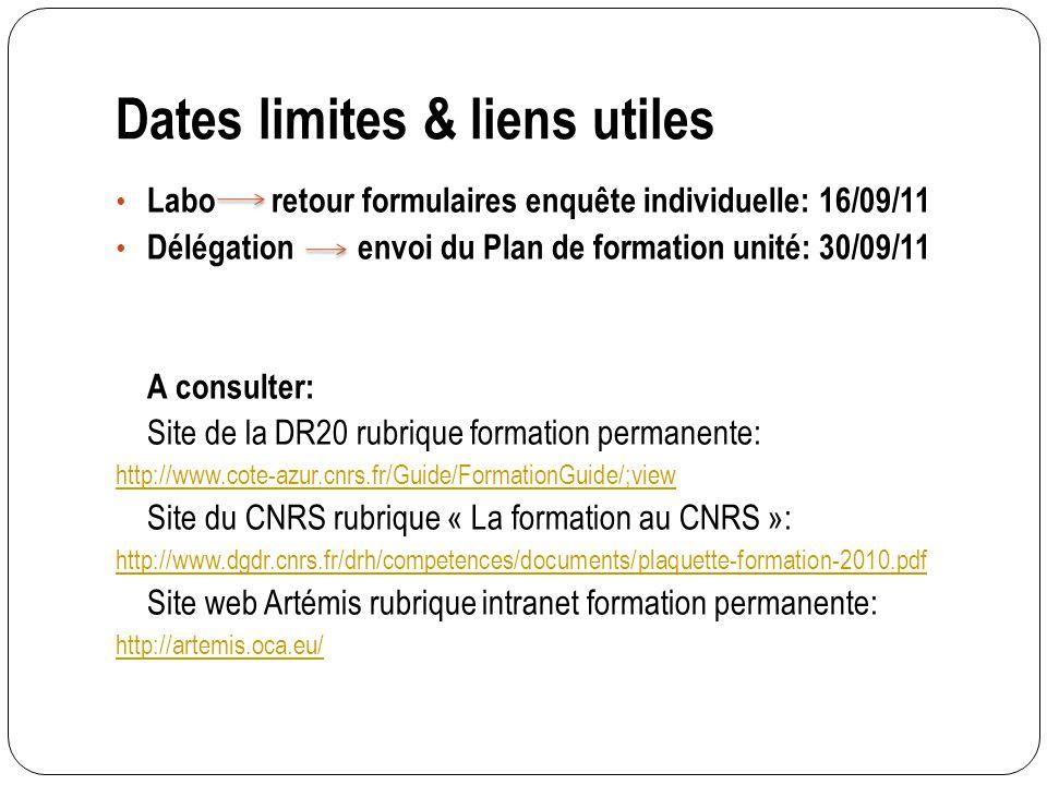 Dates limites & liens utiles Labo retour formulaires enquête individuelle: 16/09/11 Délégation envoi du Plan de formation unité: 30/09/11 A consulter: Site de la DR20 rubrique formation permanente: http://www.cote-azur.cnrs.fr/Guide/FormationGuide/;view Site du CNRS rubrique « La formation au CNRS »: http://www.dgdr.cnrs.fr/drh/competences/documents/plaquette-formation-2010.pdf Site web Artémis rubrique intranet formation permanente: http://artemis.oca.eu/