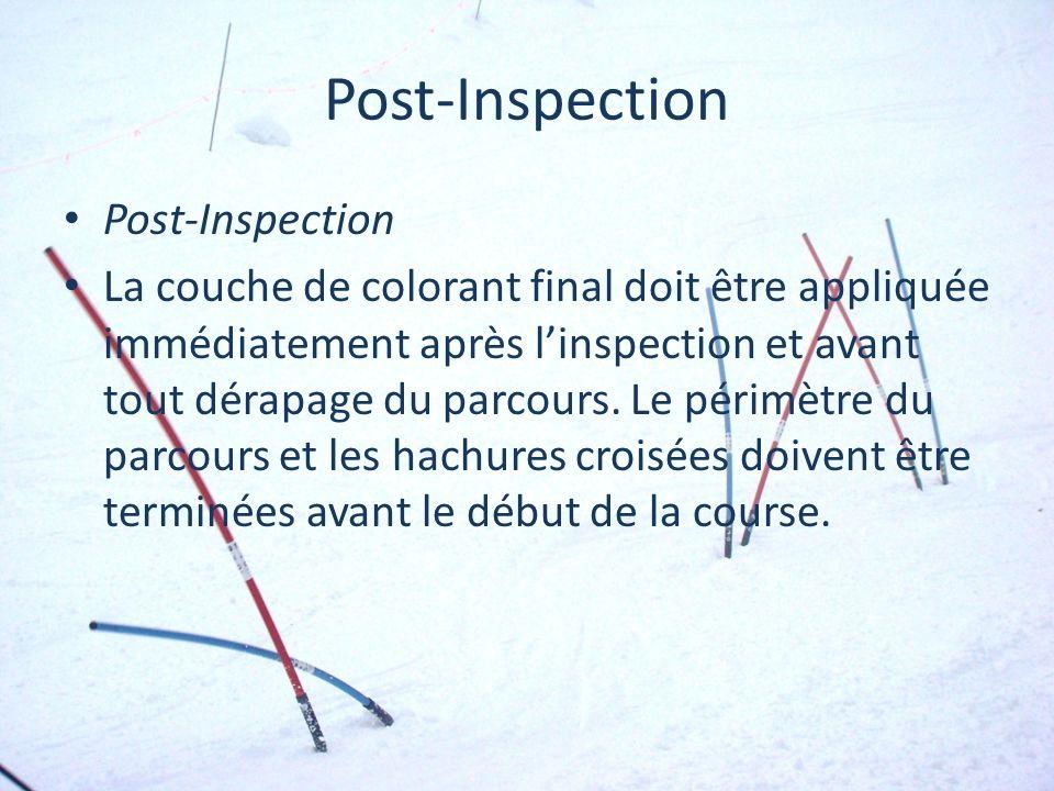 Post-Inspection La couche de colorant final doit être appliquée immédiatement après linspection et avant tout dérapage du parcours. Le périmètre du pa
