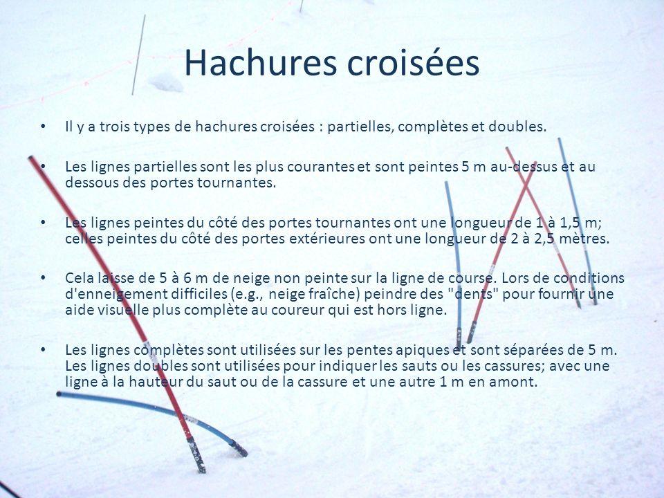 Hachures croisées Il y a trois types de hachures croisées : partielles, complètes et doubles. Les lignes partielles sont les plus courantes et sont pe