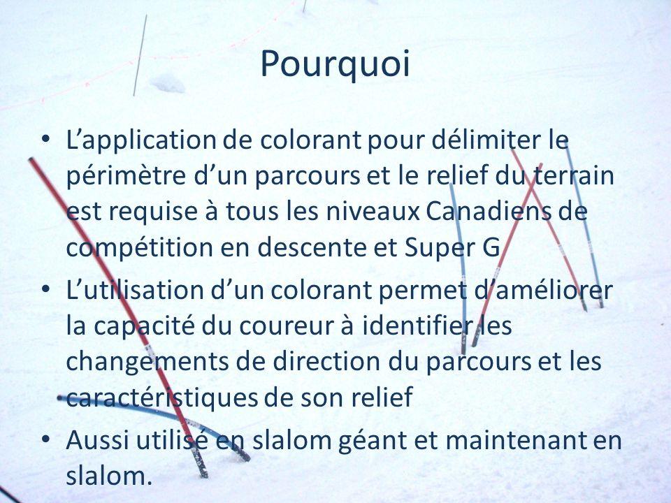 Pourquoi Lapplication de colorant pour délimiter le périmètre dun parcours et le relief du terrain est requise à tous les niveaux Canadiens de compéti