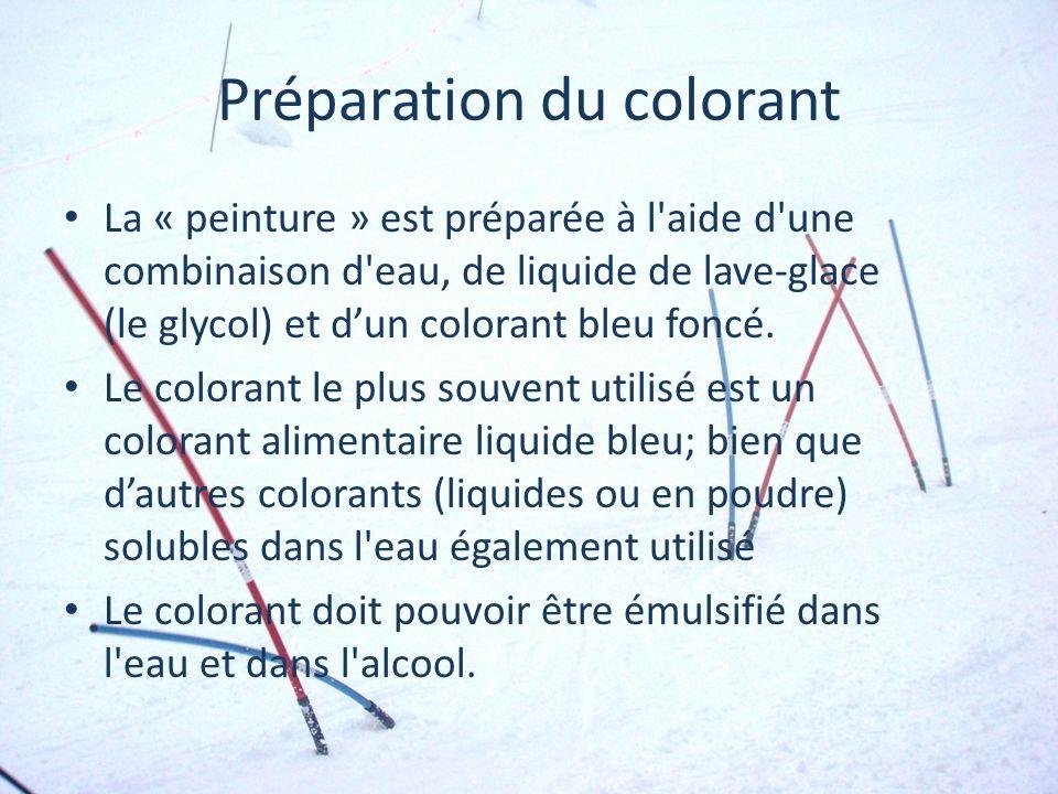 Préparation du colorant La « peinture » est préparée à l'aide d'une combinaison d'eau, de liquide de lave-glace (le glycol) et dun colorant bleu foncé