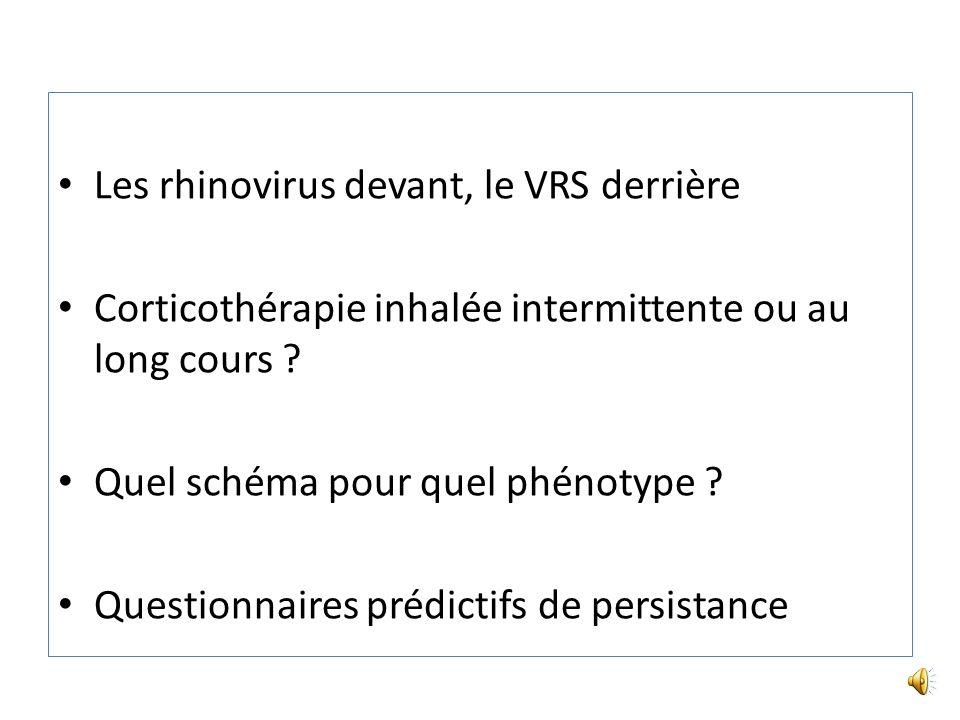 Les rhinovirus devant, le VRS derrière Corticothérapie inhalée intermittente ou au long cours .