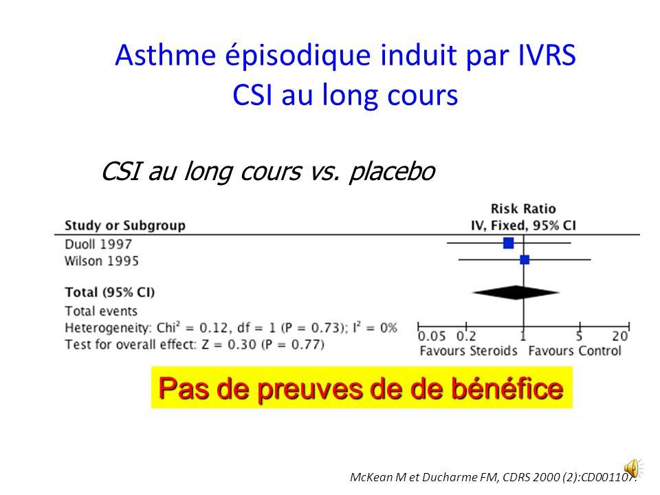 Asthme épisodique induit par IVRS CSI au long cours CSI au long cours vs.