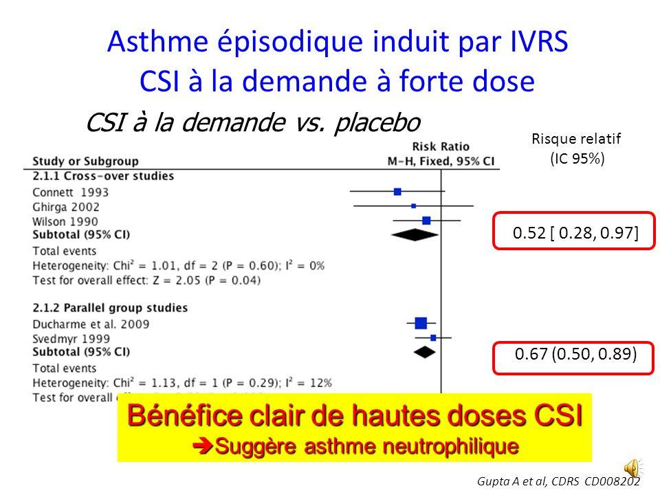 Asthme épisodique induit par IVRS CSI au long cours CSI au long cours vs. placebo McKean M et Ducharme FM, CDRS 2000 (2):CD001107. Pas de preuves de d