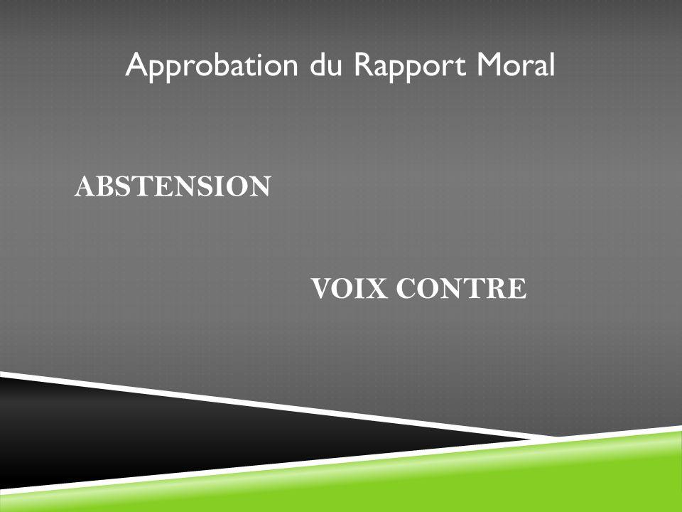 Approbation du Rapport Moral ABSTENSION VOIX CONTRE