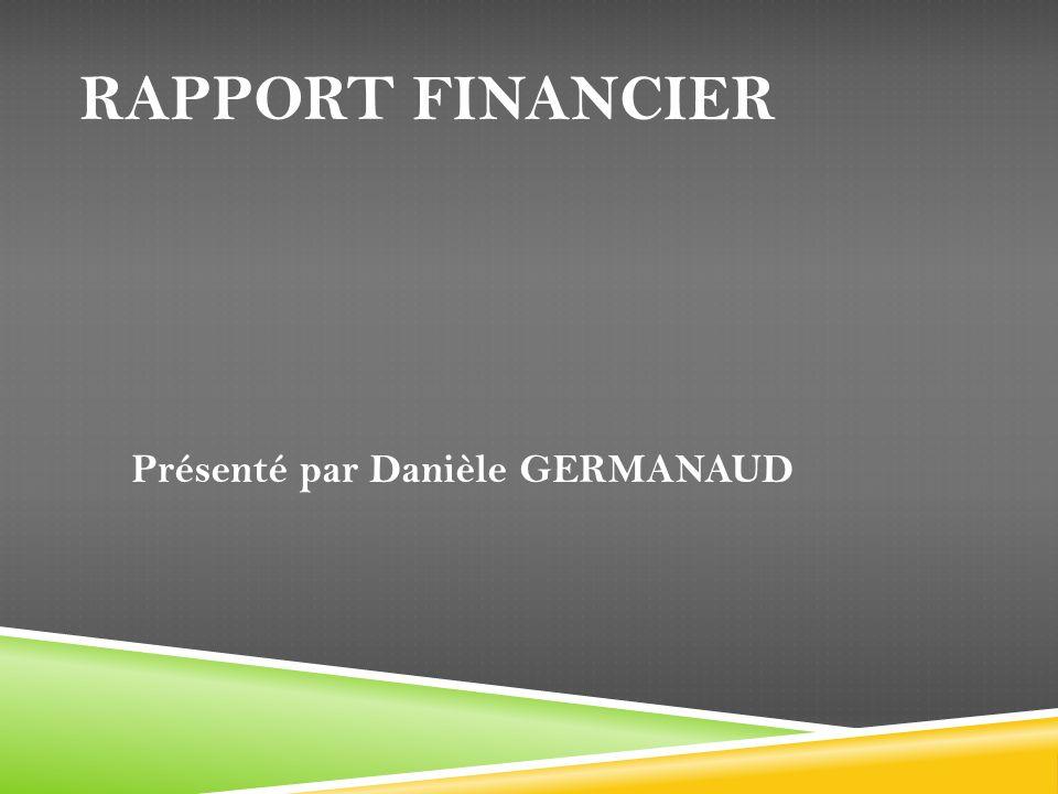 RAPPORT FINANCIER Présenté par Danièle GERMANAUD
