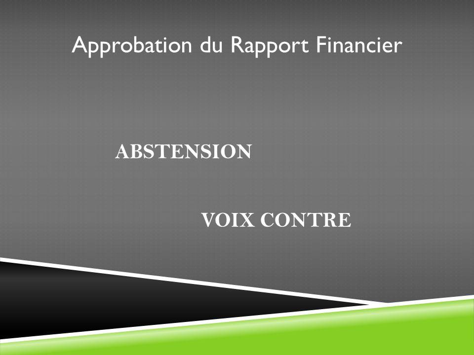 Approbation du Rapport Financier ABSTENSION VOIX CONTRE