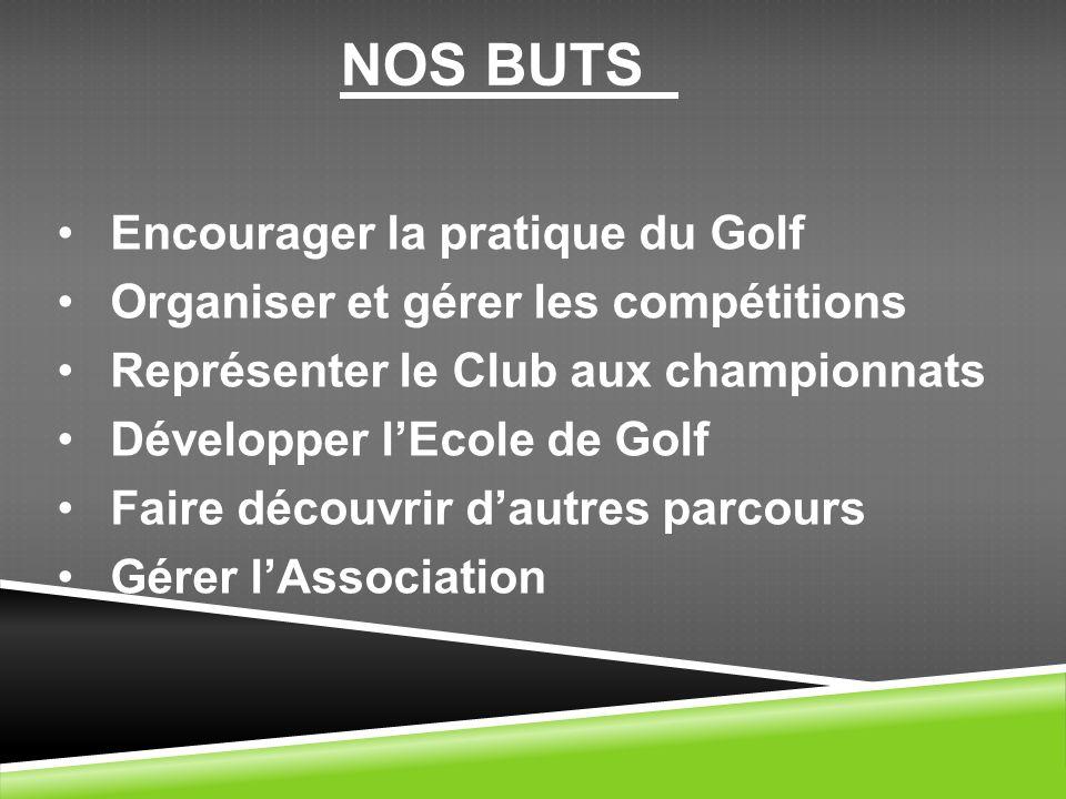 Encourager la pratique du Golf Organiser et gérer les compétitions Représenter le Club aux championnats Développer lEcole de Golf Faire découvrir daut