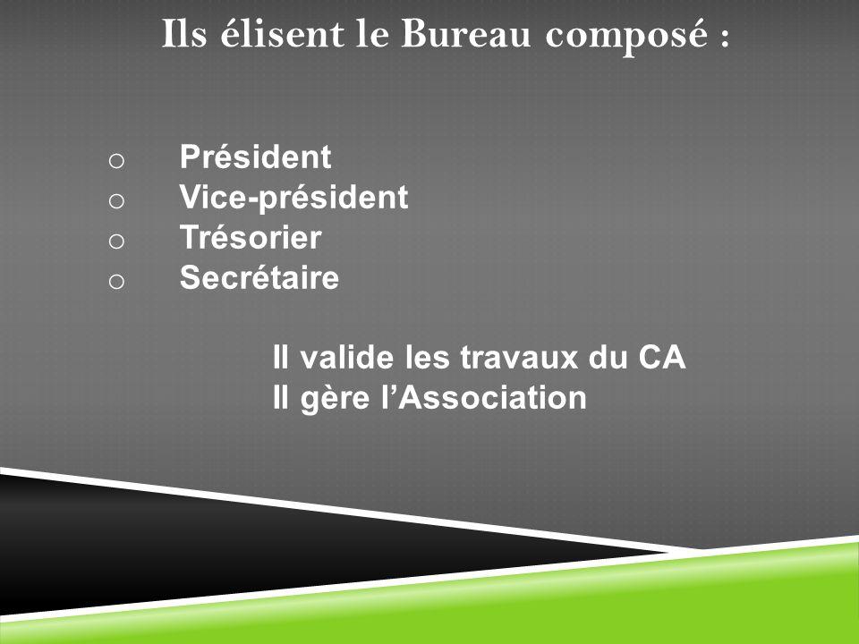o Président o Vice-président o Trésorier o Secrétaire Il valide les travaux du CA Il gère lAssociation Ils élisent le Bureau composé :