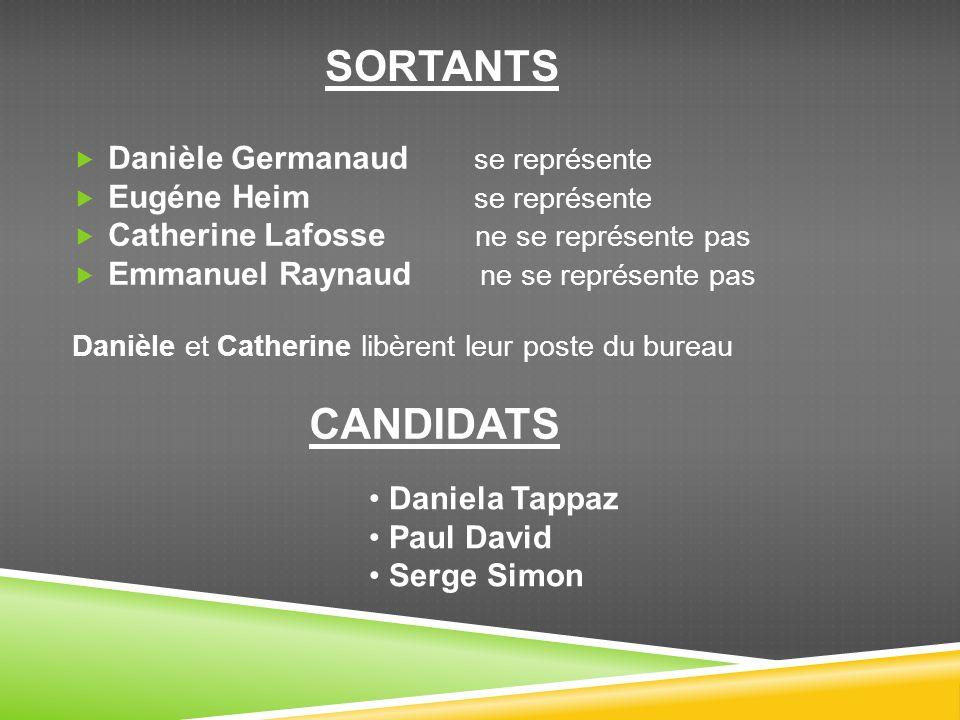 Danièle Germanaud se représente Eugéne Heim se représente Catherine Lafosse ne se représente pas Emmanuel Raynaud ne se représente pas Danièle et Cath