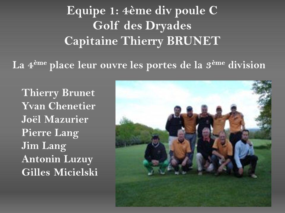 Equipe 1: 4ème div poule C Golf des Dryades Capitaine Thierry BRUNET La 4 ème place leur ouvre les portes de la 3 ème division Thierry Brunet Yvan Che