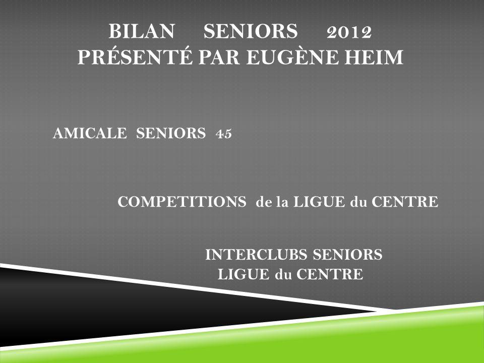 BILAN SENIORS 2012 PRÉSENTÉ PAR EUGÈNE HEIM AMICALE SENIORS 45 COMPETITIONS de la LIGUE du CENTRE INTERCLUBS SENIORS LIGUE du CENTRE
