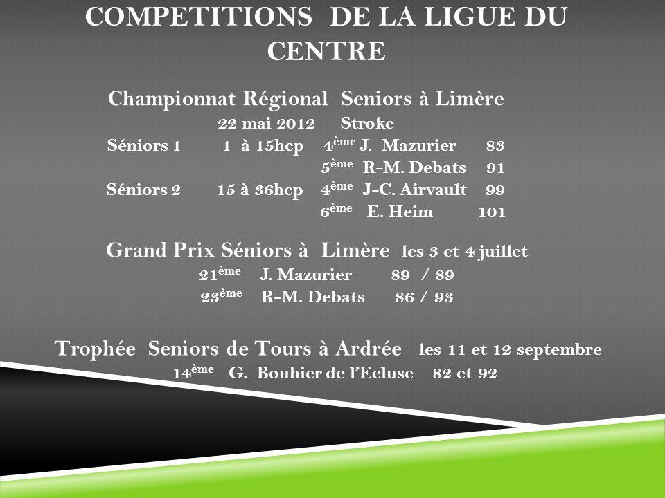 COMPETITIONS DE LA LIGUE DU CENTRE Championnat Régional Seniors à Limère 22 mai 2012 Stroke Séniors 1 1 à 15hcp 4 ème J. Mazurier 83 5 ème R-M. Debats