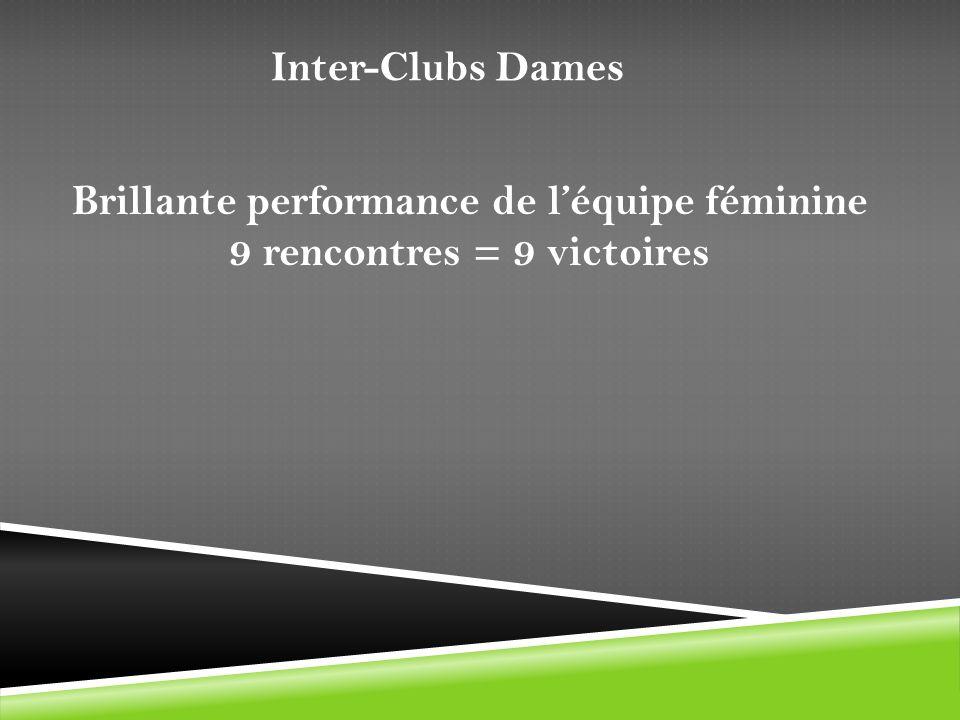 Inter-Clubs Dames Brillante performance de léquipe féminine 9 rencontres = 9 victoires