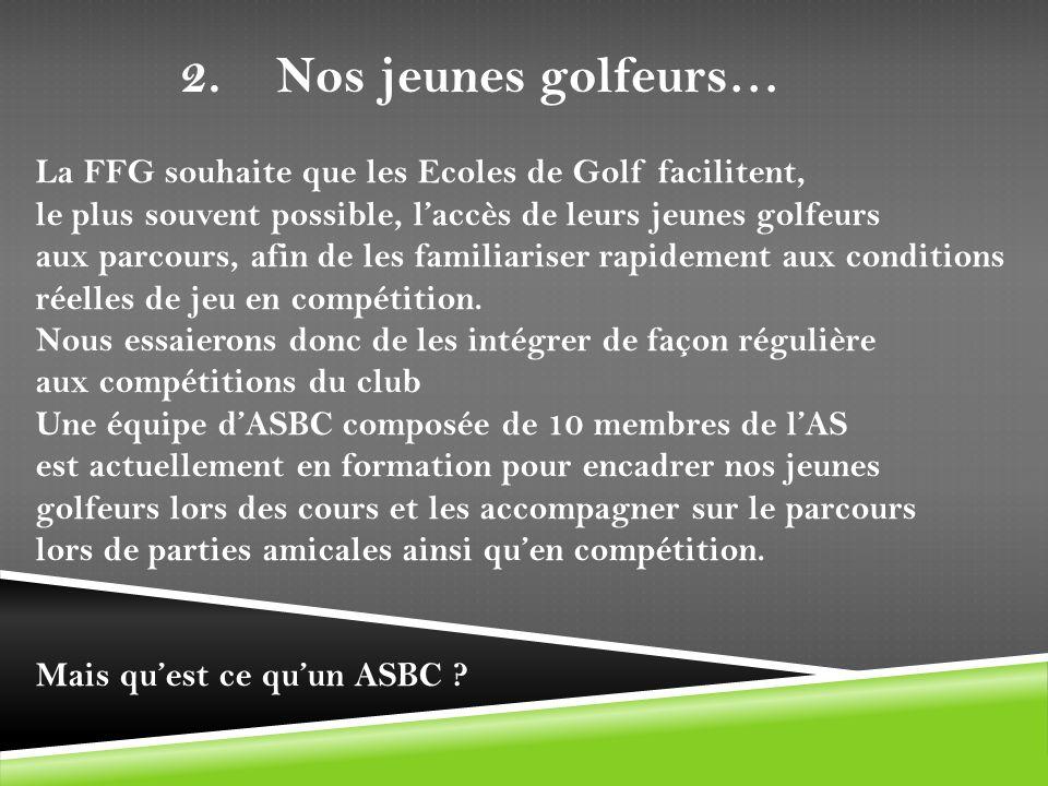 La FFG souhaite que les Ecoles de Golf facilitent, le plus souvent possible, laccès de leurs jeunes golfeurs aux parcours, afin de les familiariser ra
