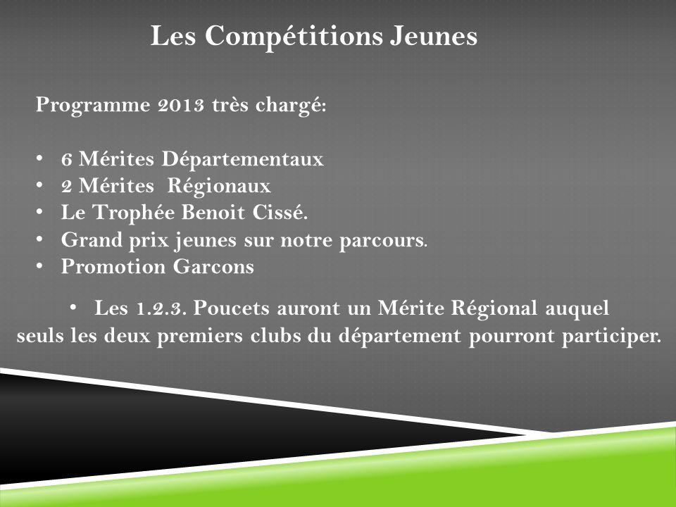 Les Compétitions Jeunes Programme 2013 très chargé: 6 Mérites Départementaux 2 Mérites Régionaux Le Trophée Benoit Cissé. Grand prix jeunes sur notre