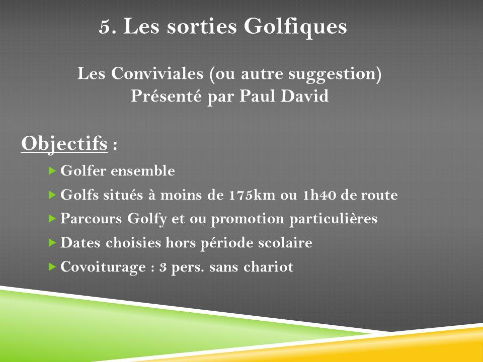 Objectifs : Golfer ensemble Golfs situés à moins de 175km ou 1h40 de route Parcours Golfy et ou promotion particulières Dates choisies hors période sc
