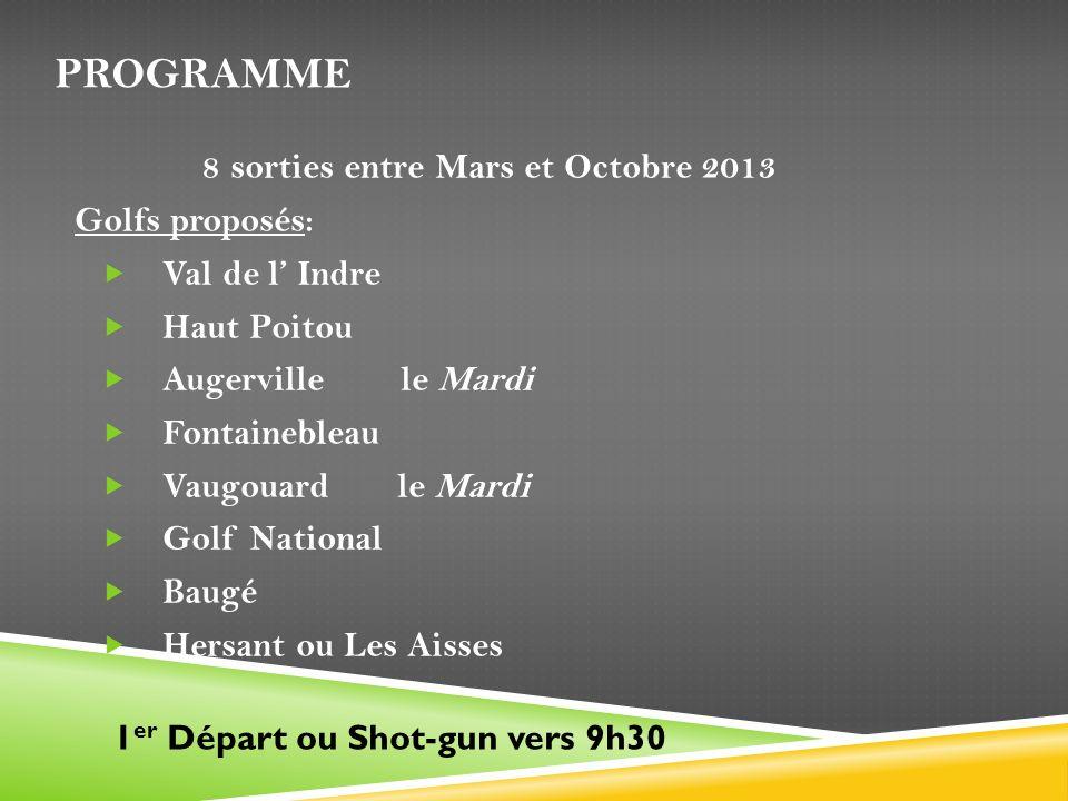 PROGRAMME 8 sorties entre Mars et Octobre 2013 Golfs proposés: Val de l Indre Haut Poitou Augerville le Mardi Fontainebleau Vaugouard le Mardi Golf Na