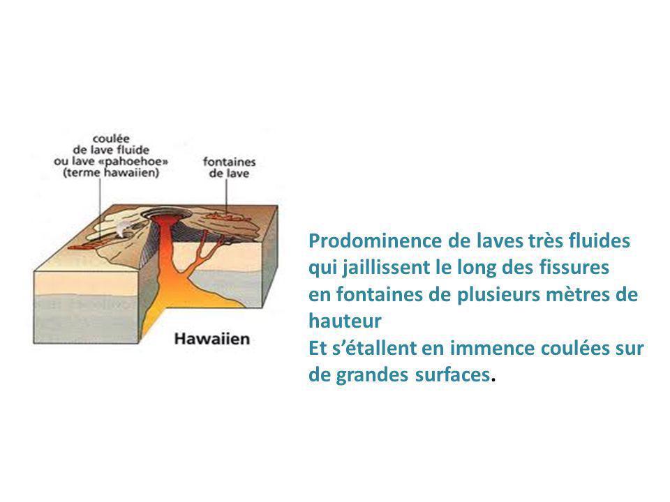 Prodominence de laves très fluides qui jaillissent le long des fissures en fontaines de plusieurs mètres de hauteur Et sétallent en immence coulées sur de grandes surfaces.