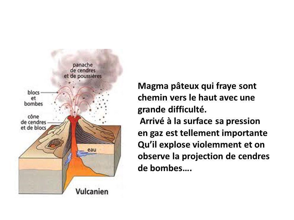 Magma pâteux qui fraye sont chemin vers le haut avec une grande difficulté.