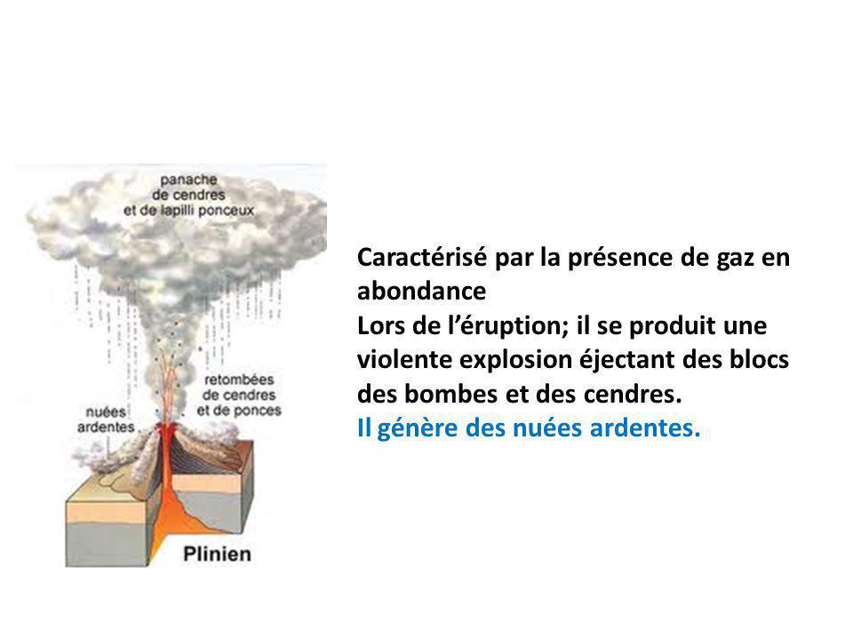 Caractérisé par la présence de gaz en abondance Lors de léruption; il se produit une violente explosion éjectant des blocs des bombes et des cendres.