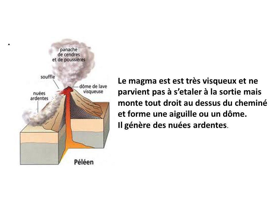 Le magma est est très visqueux et ne parvient pas à setaler à la sortie mais monte tout droit au dessus du cheminé et forme une aiguille ou un dôme.