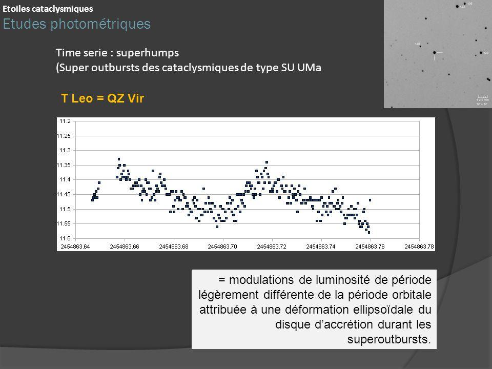 Time serie : superhumps (Super outbursts des cataclysmiques de type SU UMa = modulations de luminosité de période légèrement différente de la période