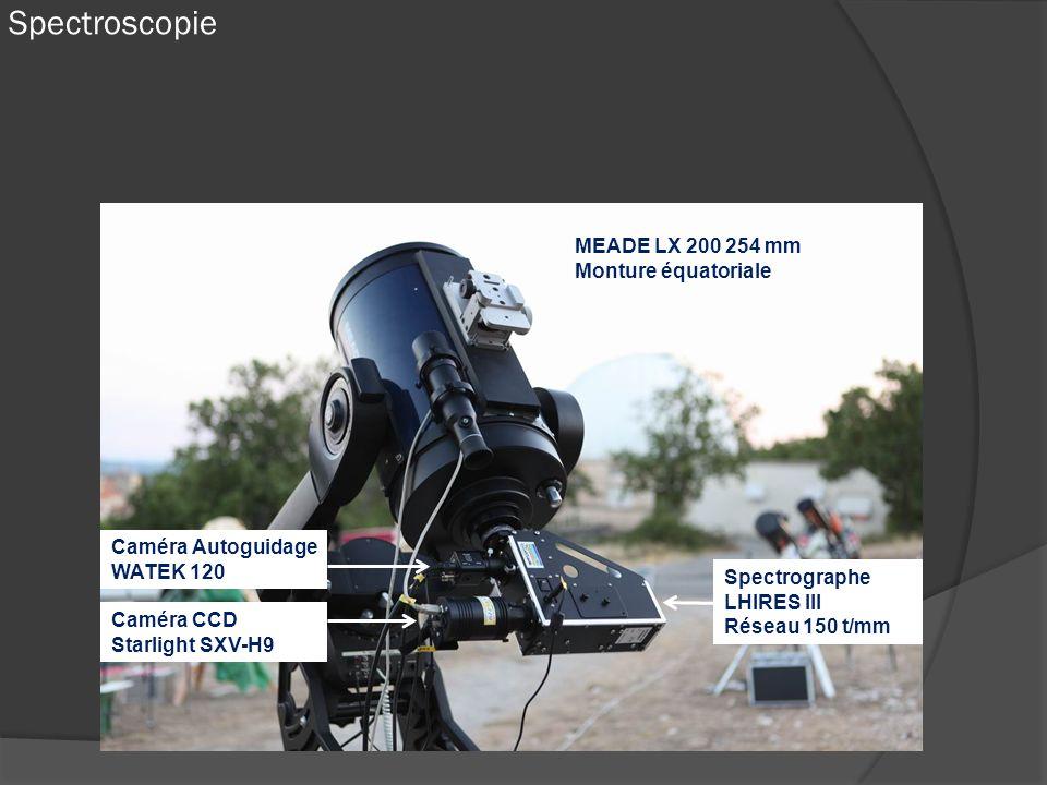 Spectroscopie MEADE LX 200 254 mm Monture équatoriale Spectrographe LHIRES III Réseau 150 t/mm Caméra CCD Starlight SXV-H9 Caméra Autoguidage WATEK 12