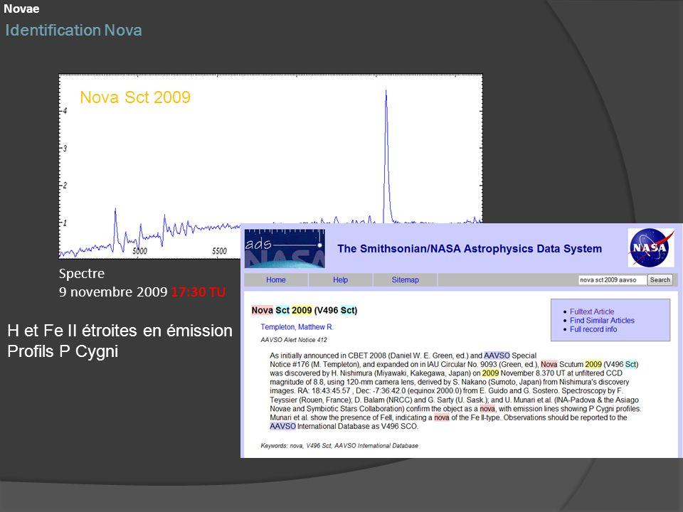 Identification Nova Novae Nova Sct 2009 Spectre 9 novembre 2009 17:30 TU H et Fe II étroites en émission Profils P Cygni