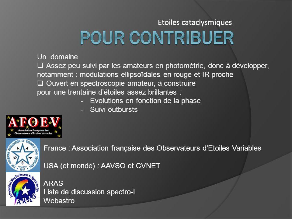 Etoiles cataclysmiques France : Association française des Observateurs dEtoiles Variables USA (et monde) : AAVSO et CVNET ARAS Liste de discussion spe