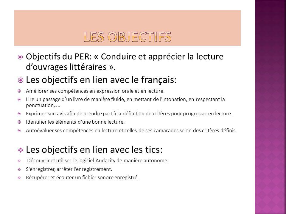 Objectifs du PER: « Conduire et apprécier la lecture douvrages littéraires ».