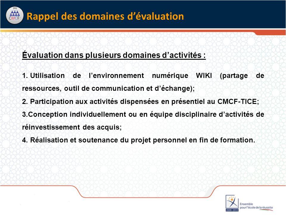 Évaluation dans plusieurs domaines dactivités : 1.